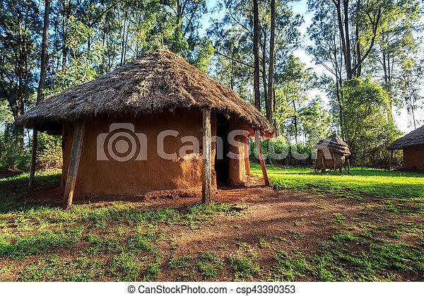 traditionelle , stammes-, dorf, kenianer, leute - csp43390353