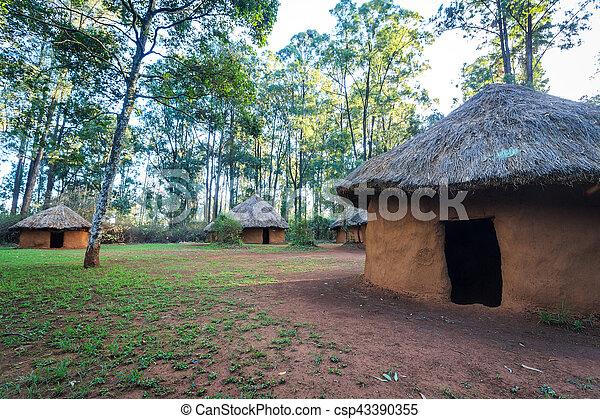 traditionelle , stammes-, dorf, kenianer, leute - csp43390355