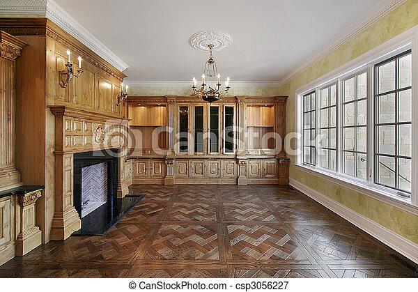 traditionnel chemin e biblioth que biblioth que traditionnel construction nouvelle maison. Black Bedroom Furniture Sets. Home Design Ideas