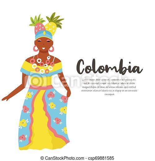 traditionnel, colombien, femme, déguisement, fruits - csp69881585