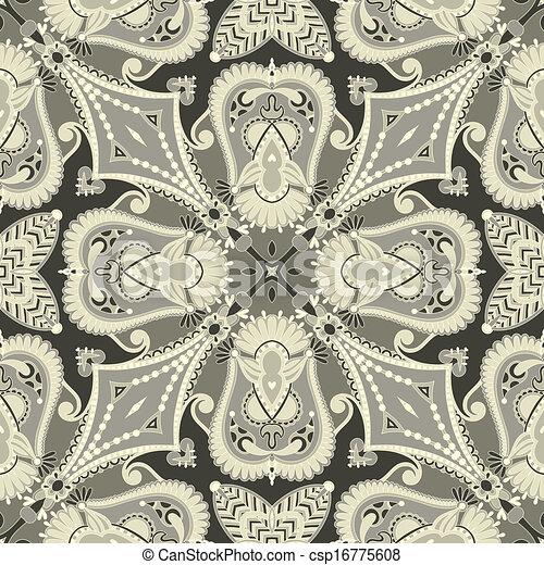 traditionnel, décoratif, paisley, floral, bandanna. - csp16775608