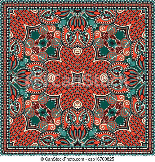 traditionnel, décoratif, paisley, floral, foulard - csp16700825