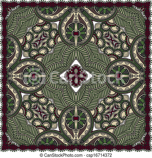 traditionnel, décoratif, paisley, floral, foulard - csp16714372