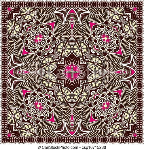 traditionnel, décoratif, paisley, floral, foulard - csp16715238