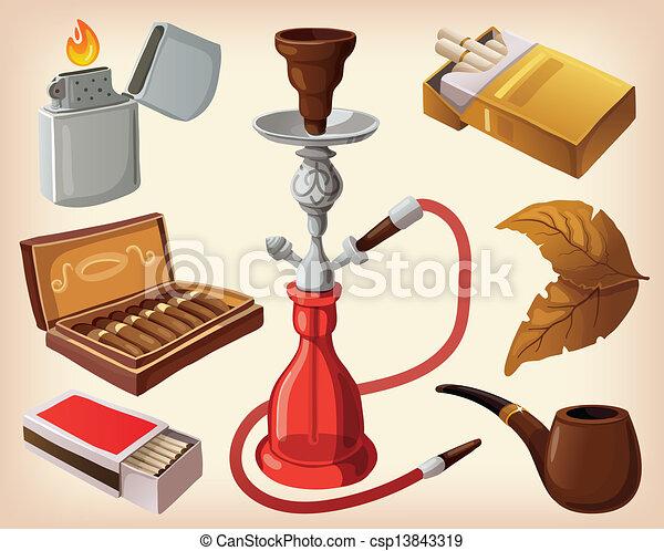 traditionnel, fumer, ensemble, appareils - csp13843319
