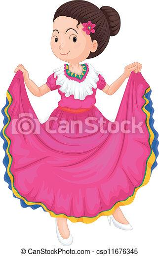 traditionnel, girl, robe - csp11676345