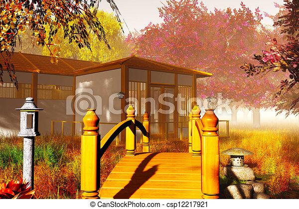 traditionnel maison japonaise brid pont jardin render maison japonaise traditionnel 3d. Black Bedroom Furniture Sets. Home Design Ideas