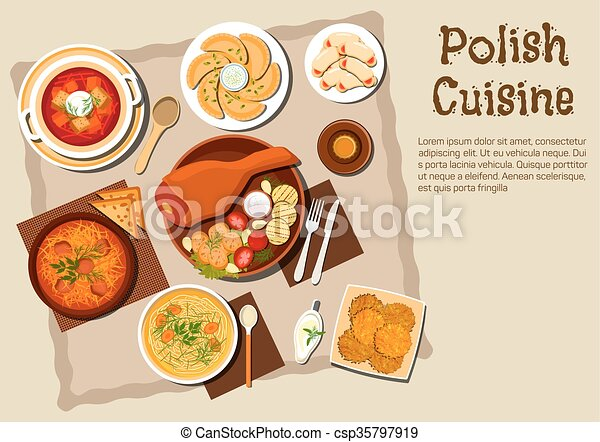 traditionnel polonais cuisine plats menu porc clipart vectoris recherchez. Black Bedroom Furniture Sets. Home Design Ideas