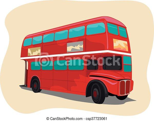 tradizionale, decker doppio, londra, autobus, rosso - csp37723061