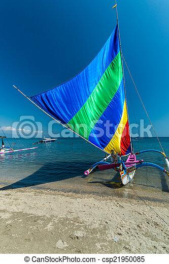 tradizionale, indonesiano, canoe. - csp21950085