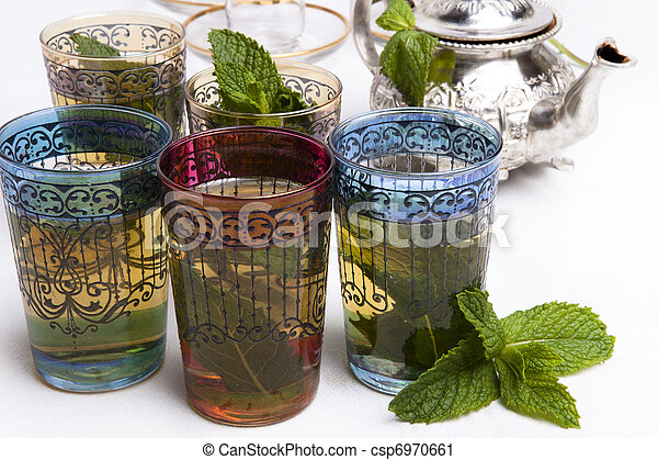 tradizionale, tè, menta, marocchino - csp6970661