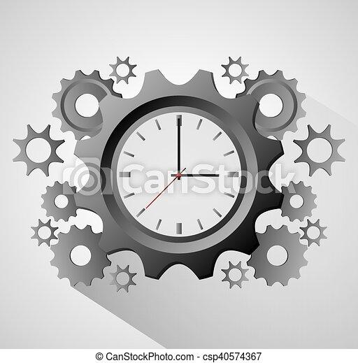 tradizionale, tempo, disegno, ingranaggi, orologio