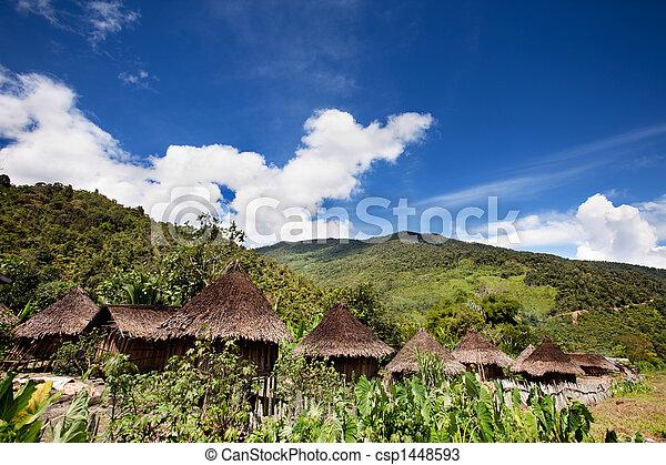 tradizionale, villaggio montagna - csp1448593