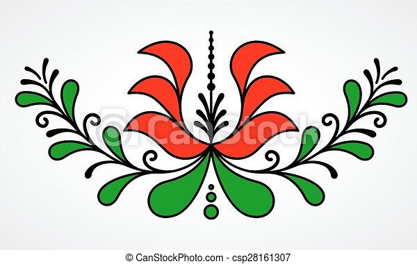 tradycyjny, kwiatowy, motyw, węgierski - csp28161307