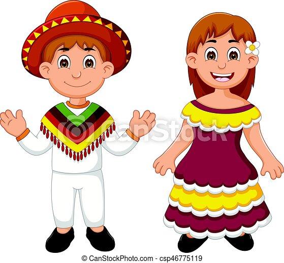 Tradycyjny, para, meksykanin, kostium, rysunek. Meksykanin, para ...
