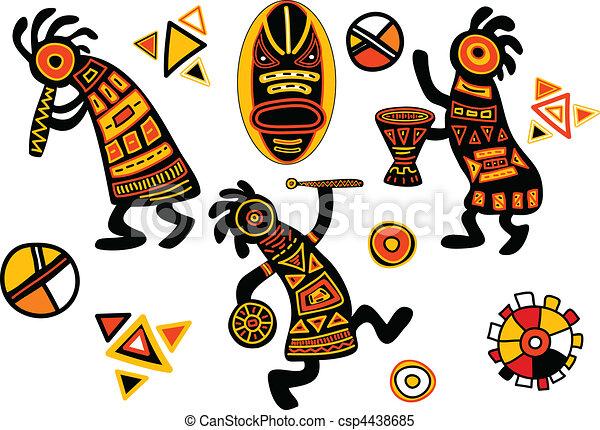 tradycyjny, wzory, wektor, afrykanin - csp4438685
