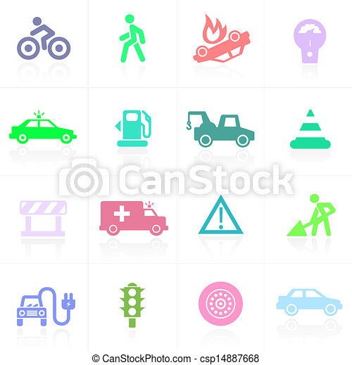 Traffic application icons in color - csp14887668