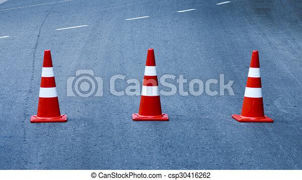 Traffic cones on the road - csp30416262