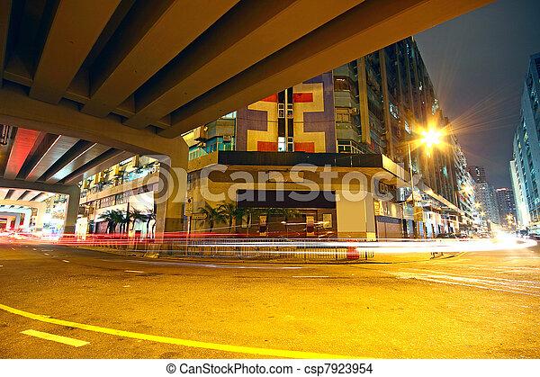 traffic downtown area at night, hongkong - csp7923954