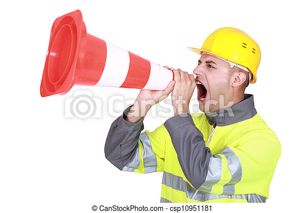 Traffic guard screaming into a pylon - csp10951181