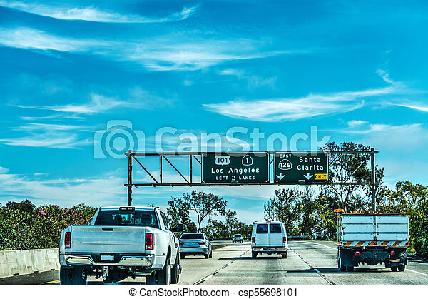 Traffic in 101 freeway in Los Angeles - csp55698101
