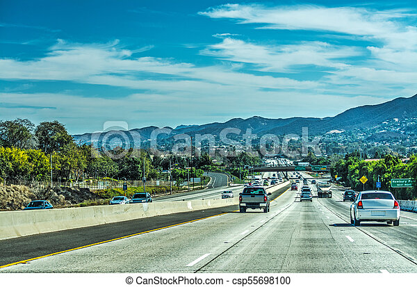 Traffic in 101 freeway southbound - csp55698100