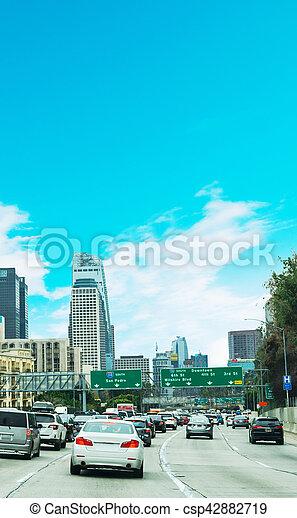 Traffic in 110 freeway in Los Angeles - csp42882719