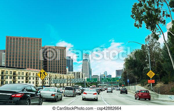 Traffic in 110 freeway in Los Angeles - csp42882664