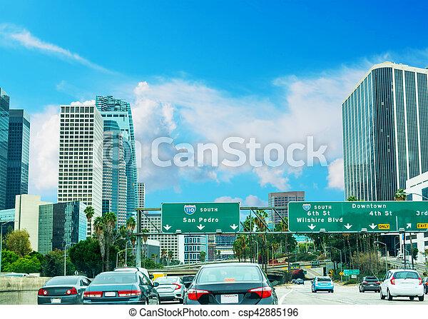Traffic in 110 freeway in Los Angeles - csp42885196