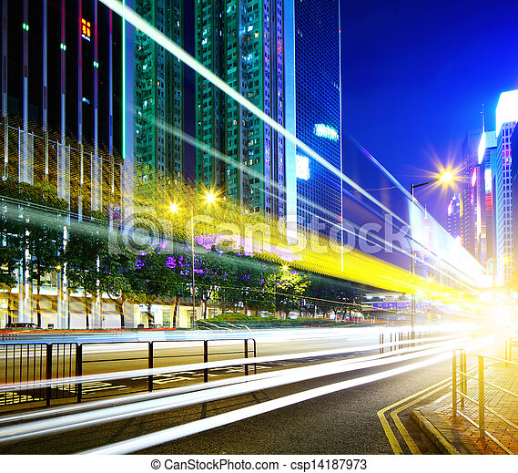 Traffic in city at night - csp14187973