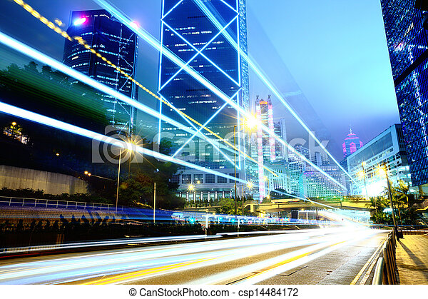 Traffic in city at night - csp14484172