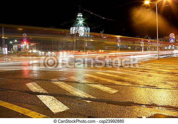 traffic in city at night - csp23992880