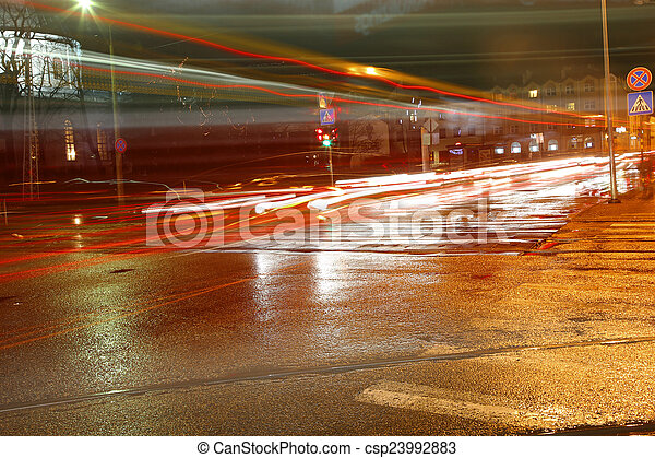 traffic in city at night - csp23992883
