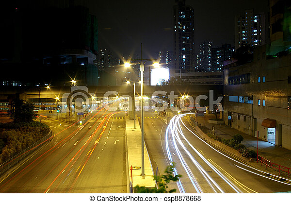 Traffic in city at night - csp8878668