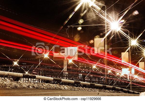 traffic in city at night - csp11929666