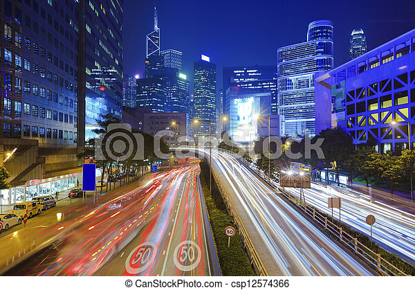 Traffic in city at night - csp12574366