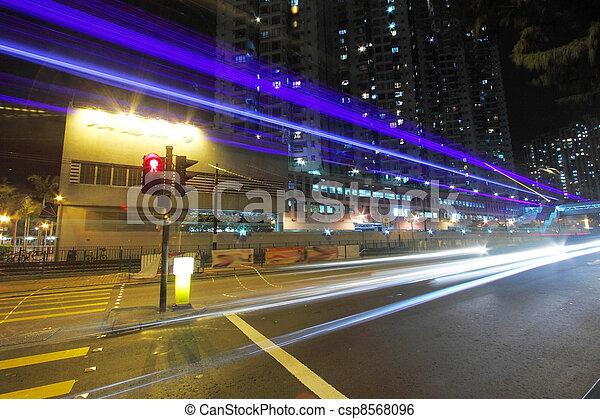 Traffic in city at night - csp8568096