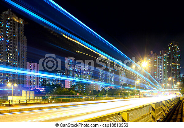 Traffic in city at night - csp18810353