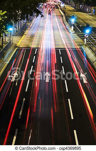 traffic in city at night - csp4369895