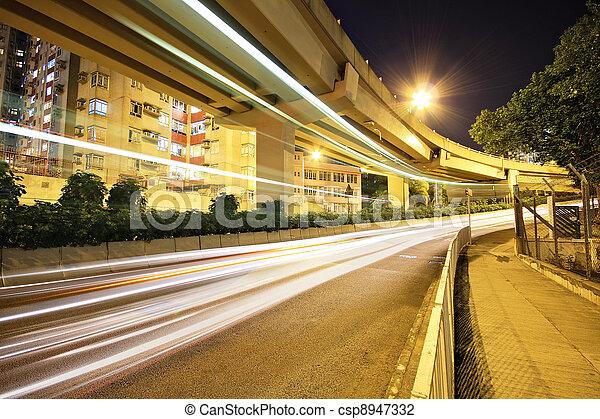 traffic in city at night - csp8947332