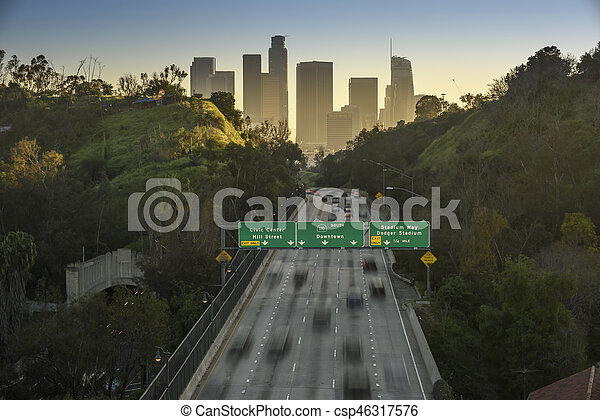 Traffic in downtown Los Angeles, California at sunset - csp46317576