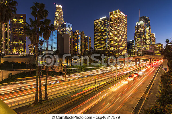 Traffic in downtown Los Angeles California at night - csp46317579