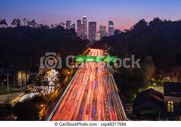 Traffic in downtown Los Angeles, California at night - csp46317584