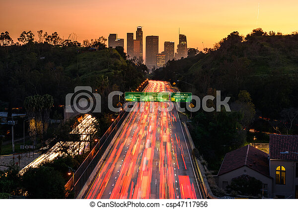 Traffic in downtown Los Angeles, California at sunset - csp47117956