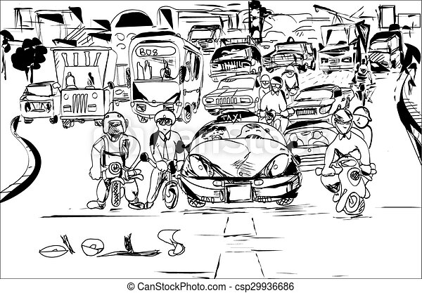 Black And White Sketch Of The Traffic Jamcity Silhouette In