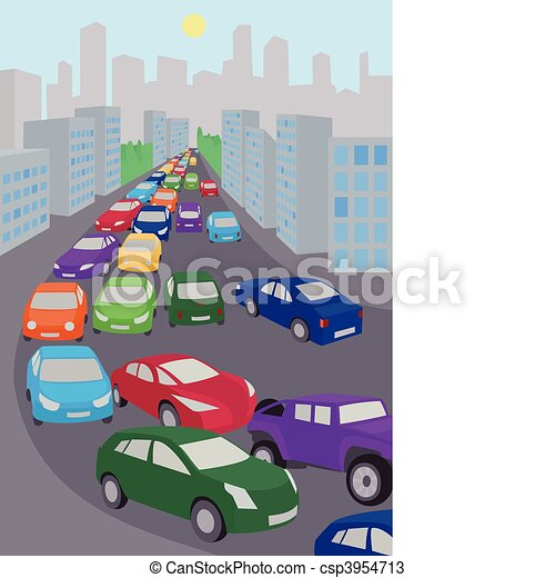 traffic jam an illustration of traffic jam with lots of colored cars rh canstockphoto com traffic clipart free traffic clipart