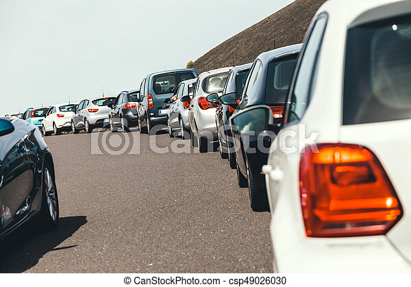Traffic jam with a lot of cars on the way - csp49026030
