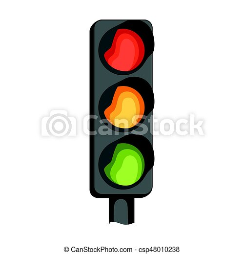 Traffic Light For Vehiclesr Single Icon In Cartoon Style Vector