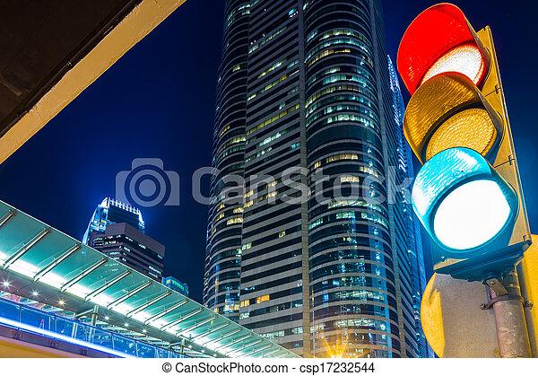 Traffic light in modern city - csp17232544