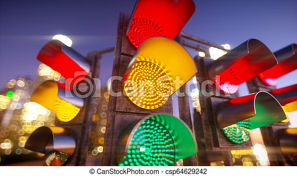 Traffic light in modern city - csp64629242